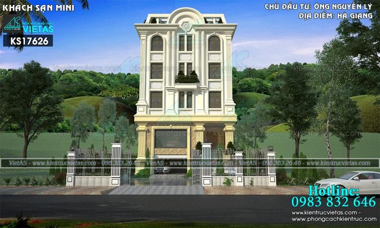 mau khach san 5 tang dep o Ha Giang - Thiet ke khach san tan co dien mat tien 10m (11)